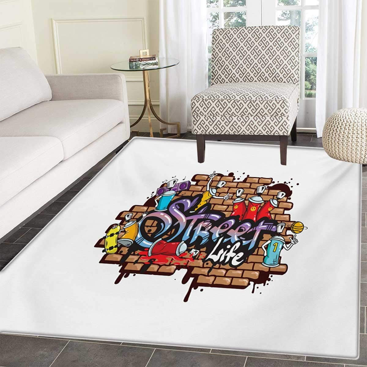 Amazon com youth bath mats carpet urban world street life graffiti art spraycan characters drippy blotchy letters floor mat pattern 30x40 multicolor