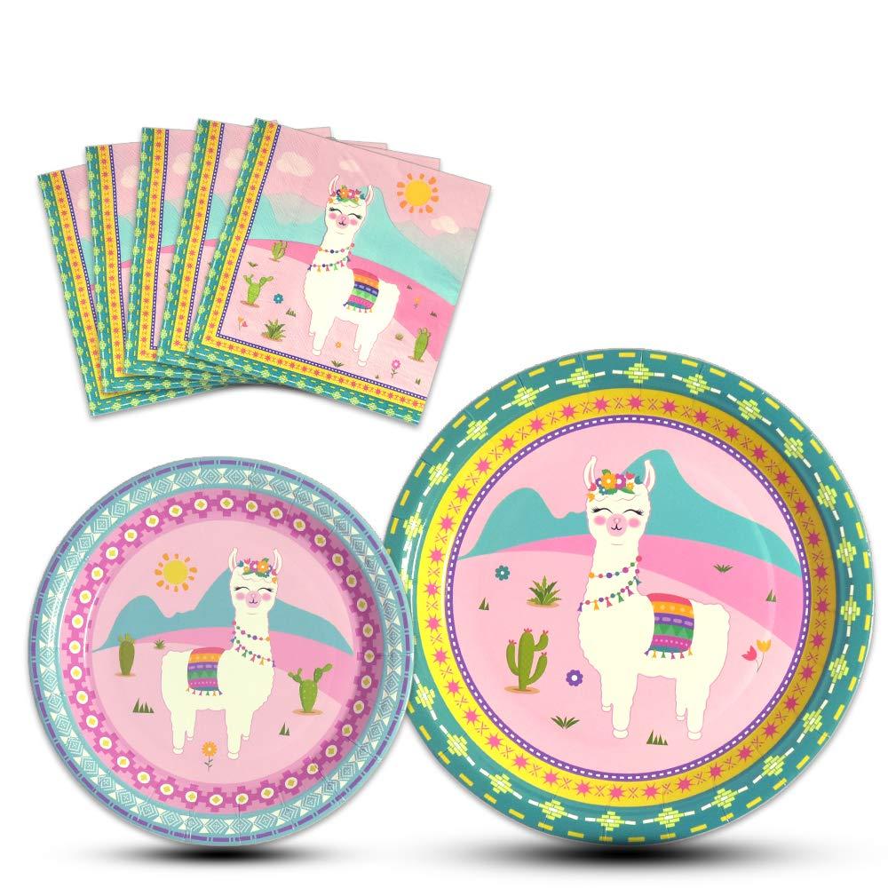 WERNNSAI Llama Party Supplies - Disposable Alpaca Themed Tableware Set for Girls Kids Birthday Dinner Dessert Plates and Napkins Serves 16 Guests 48PCS by WERNNSAI