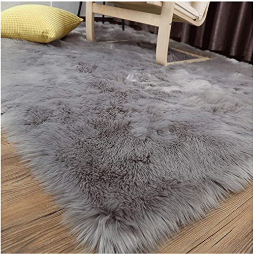 LOCHAS Soft Faux Sheepskin Fluffy Rugs for Bedroom Kids Room, High Pile Faux Fur Area Rug Bedside Floor Carpet Photography, 3×5 Feet Rectangular Grey