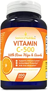 Sonora Nutrition Vitamin C with Rose Hips and Acerola 500 mg, 200 Capsules