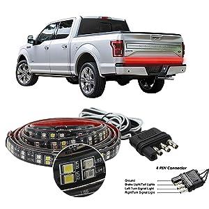 """Truck Tailgate Light Bar Double Row LED Flexible Strip 60"""" Turn Signal Brake Reverse light for Pickup Trailer, Red/White"""