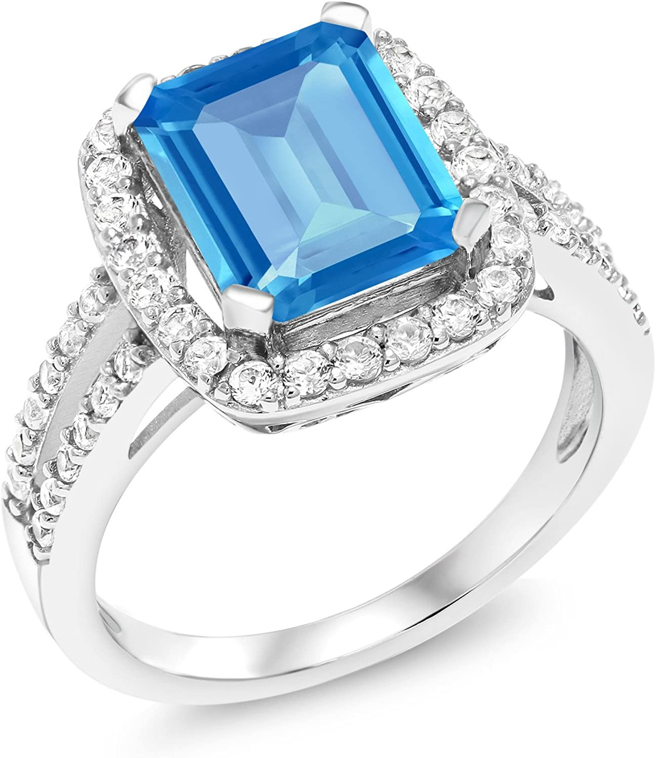 SVC-JEWELS 14k White Gold Plated 925 Sterling Silver Swiss Blue Topaz Cluster Engagement Wedding Band Ring Mens