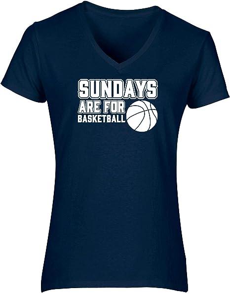 HippoWarehouse Sundays Are For Basketball Camiseta de Manga Corta con Cuello en Pico para Mujer: Amazon.es: Ropa y accesorios
