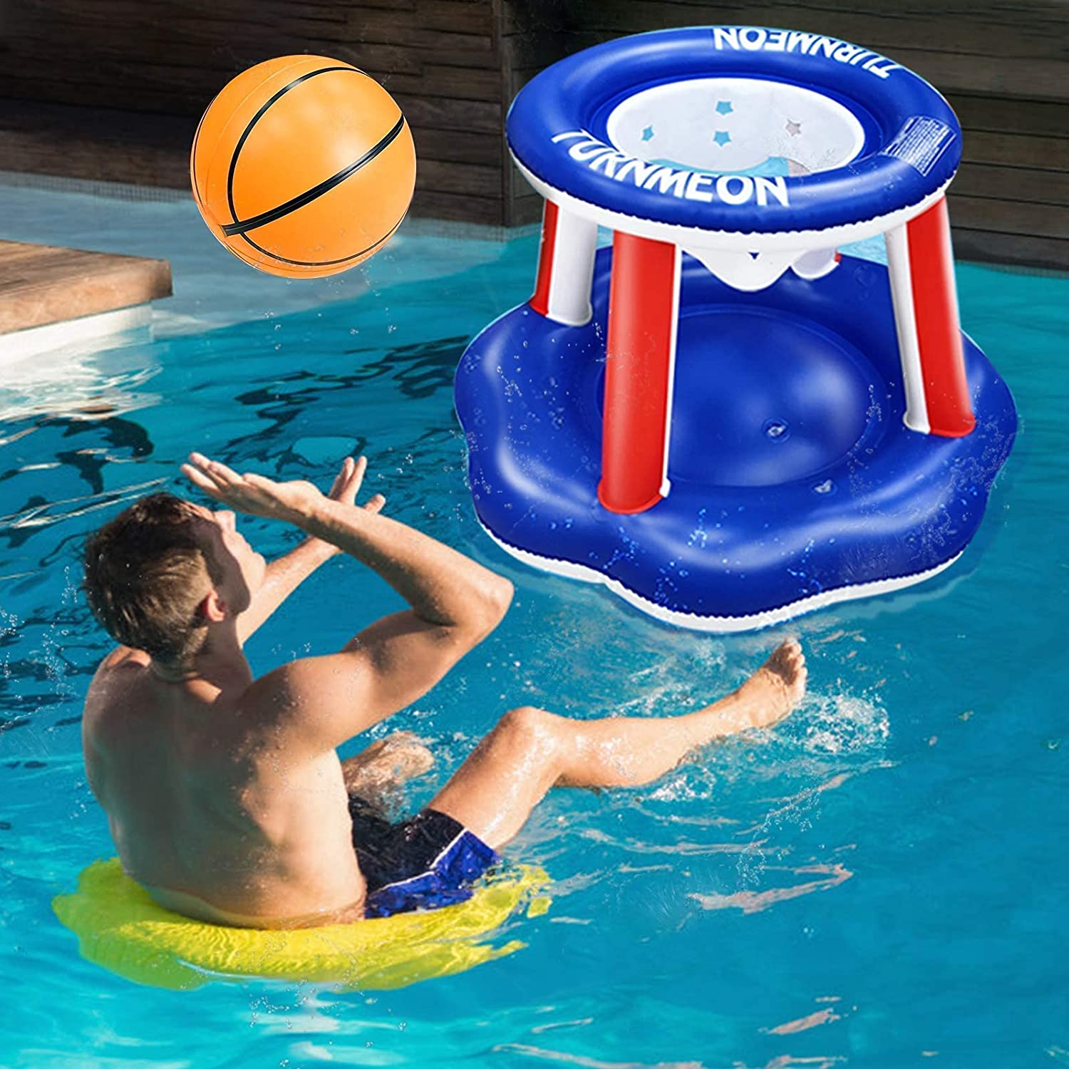 iGeeKid Inflatable Swimming Pool Basketball Hoop Pool Float Set Inflatable Pool Toys Water Games with Ball for Kids Adults Summer Pool Party Fun Games Beach Ball Outdoor Water Toys Sports Game Set