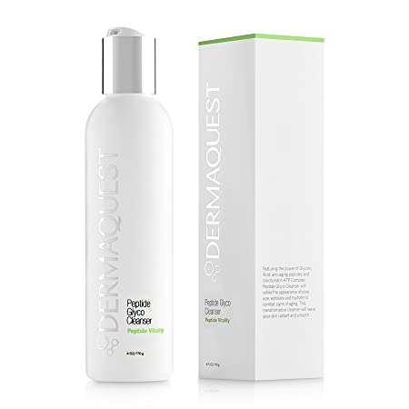 DermaQuest Peptide Vitality Creamy Peptide Glyco Cleanser – Reducing Inflammation Signs of Aging Exfoliating Face Wash with 15 Glycolic Acid, 6 oz