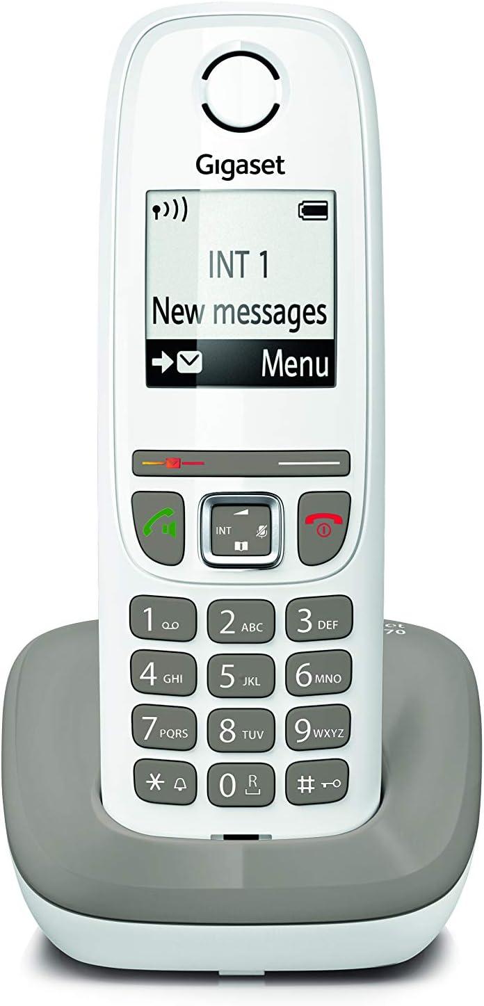 Gigaset AS470 Solo - Teléfono (Teléfono DECT, Terminal inalámbrico, Altavoz, 100 entradas, Identificador de Llamadas, Gris Pardo, Blanco): Amazon.es: Electrónica