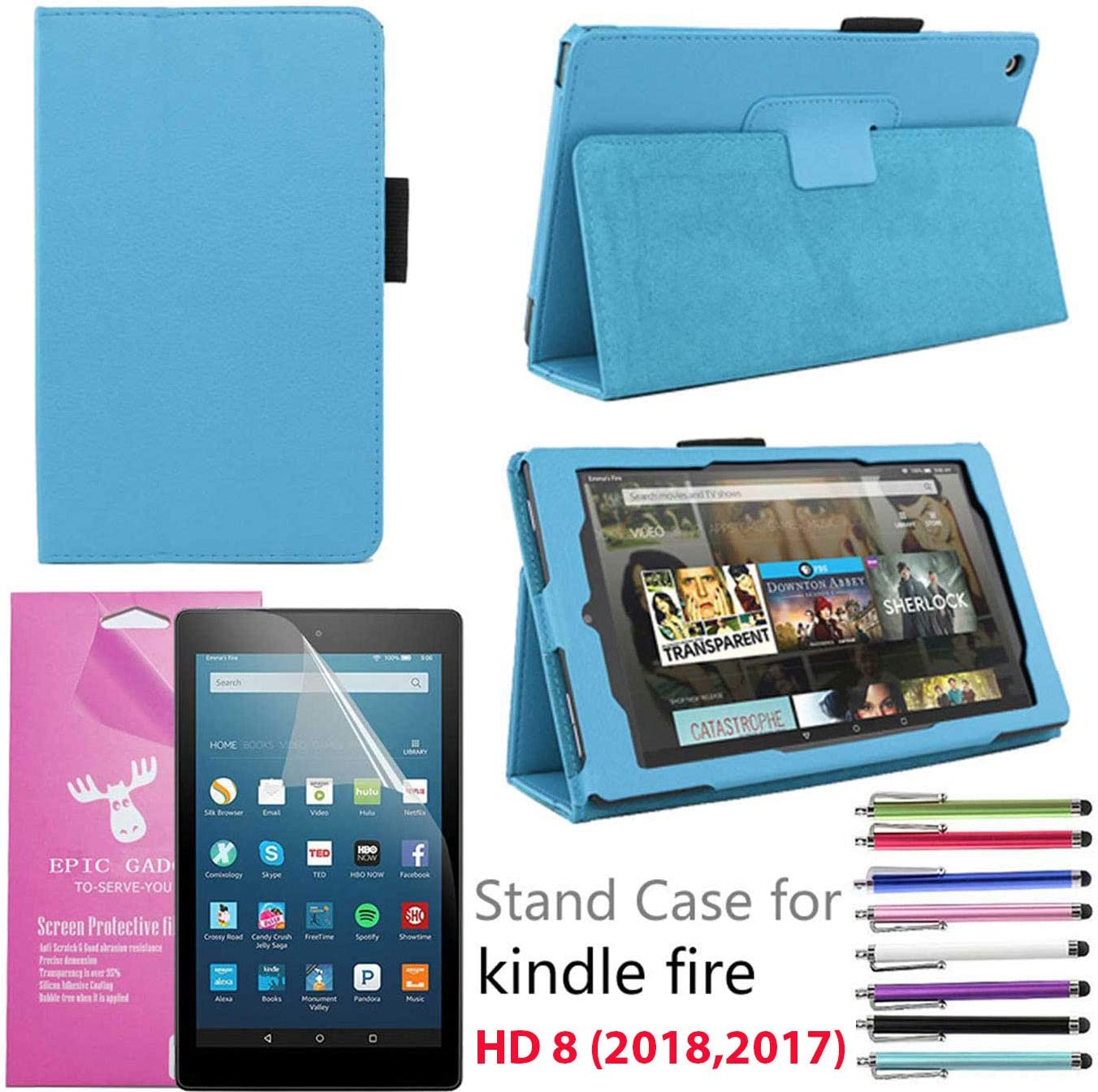 """B073DN21NG EpicGadget Case for Amazon Fire HD 8"""" 2018/2017, Auto Sleep/Wake (8th and 7th Generation) Fire HD 8 PU Leather Folding Folio Smart Cover Case For Fire HD 8 Inch 2018/2017 Release (Light Blue) 71W2B35hHZ1L"""