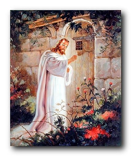 Amazon jesus christ knocking at the door religious and jesus christ knocking at the door religious and spiritual art print poster 8x10 altavistaventures Gallery