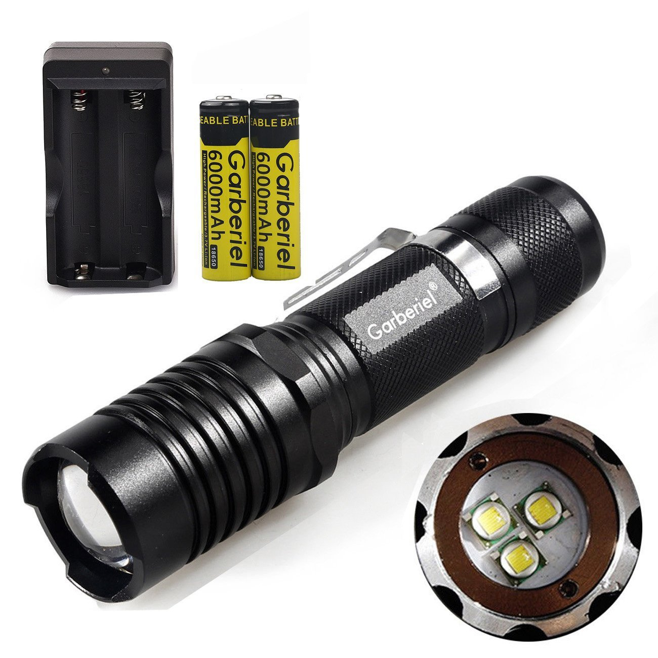 Jisell Super Bright 5000LM LED 3xT6 Tactical LED Flashlight 5 Modes Zoomable Focus Outdoor Torch