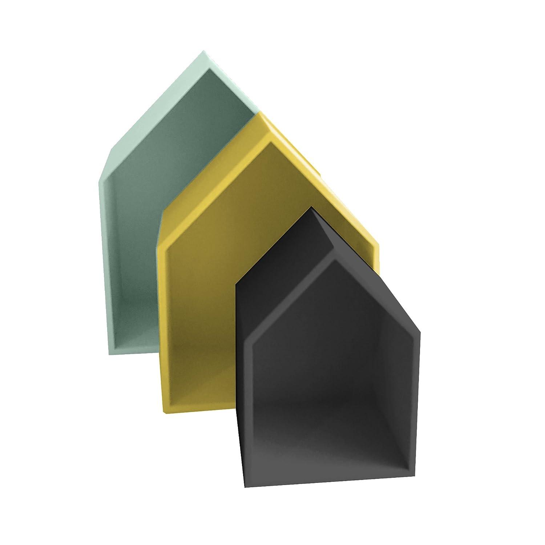 Juego de 3 estantes Verde Negro Amarillo 37,5 x 29 x 12 cm MDF 13 Casa Maison B2