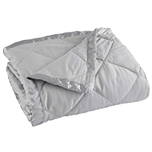 Home Fashion Designs Lightweight Twin Goose Down Alternative Quilted Blanket with Satin Trim. Romana Collection, High Rise Grey