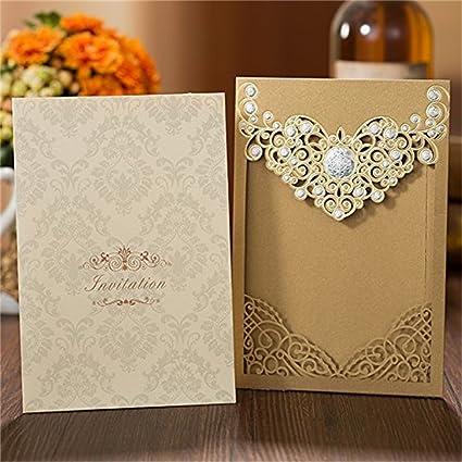 Amazon Com Laser Cut25pcs Dark Gold Invitations Cards