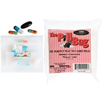 The Pill Bag 100 Count Resealable Zipper Poly Bags, 3 by 2-Inch, 3 mil Clear Plastic Bags with White Write-on Label