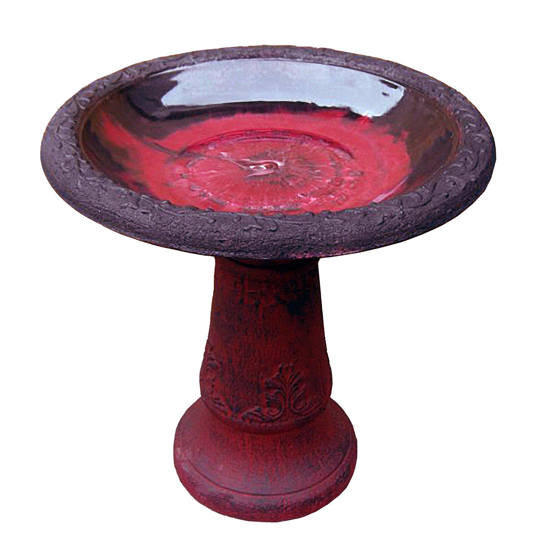 Exaco FM-0082 Endura Clay Scroll Vine Marbleized Birdbath, Red