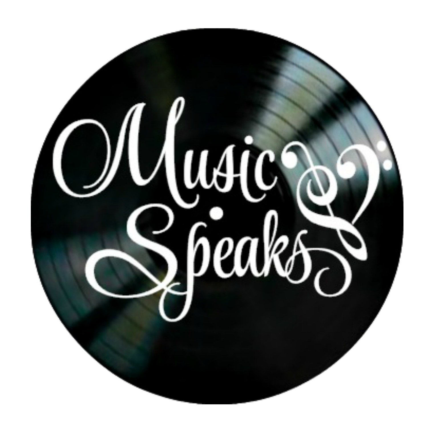 Music Speaks Quote on a Vinyl Record Album wall decor