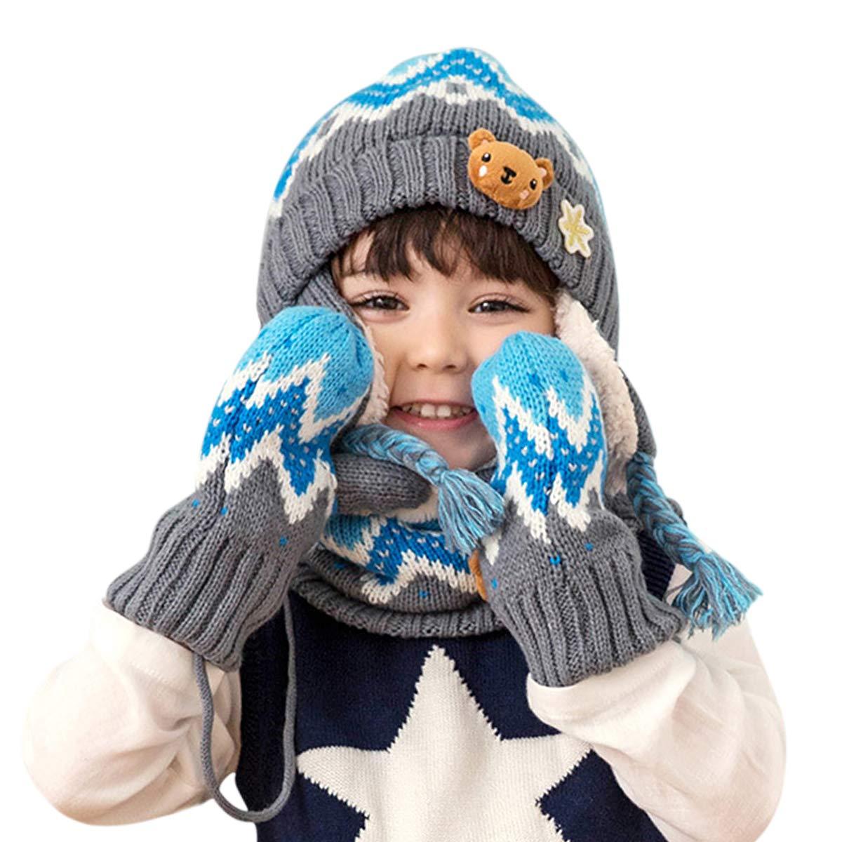 DORRISO Bambini Cappello Sciarpe Guanti Set Autunno Invernale PrimaveraCarina Piccolo Volpe Beanie Cappelli Berretto Bambino Infantili del Cappello Sciarpe Guanti per 1-6 Anni