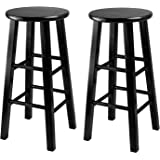 Winsome 24-Inch Square Leg Counter Stool, Black, Set of 2