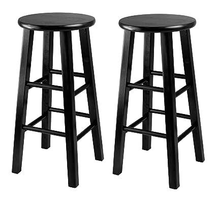 Amazon.com: Winsome 24-Inch Square Leg Counter Stool, Black, Set of ...