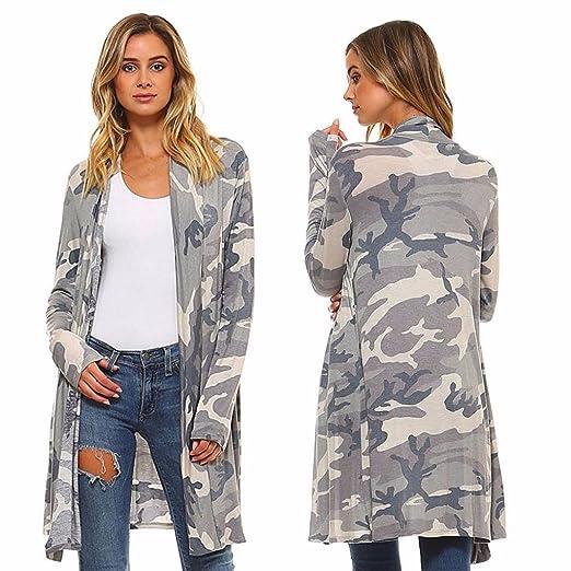 a501cb76c Hunputa Womens Long Cardigans, Women Camouflage Open Front ...