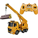 Hugine RC Crane Truck Authorized by Mercedes-Benz Arocs 2.4G 10 Channel Remote Control HoistTruck Cars Construction Vehicle Toys For Kids with LED Lights and Sounds
