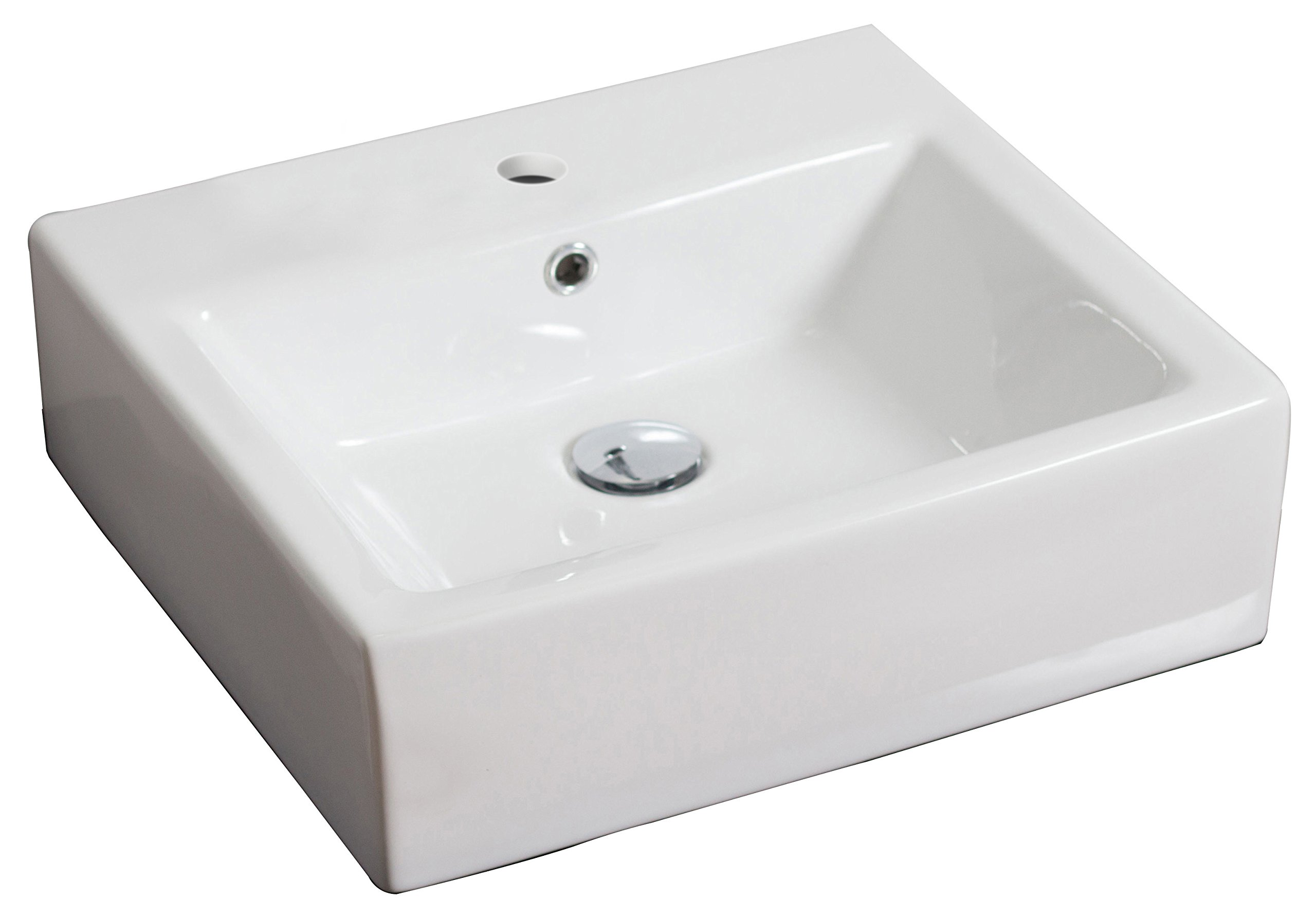 American Imaginations 690   Wall Mount Square White Ceramic Vessel with Single Hole