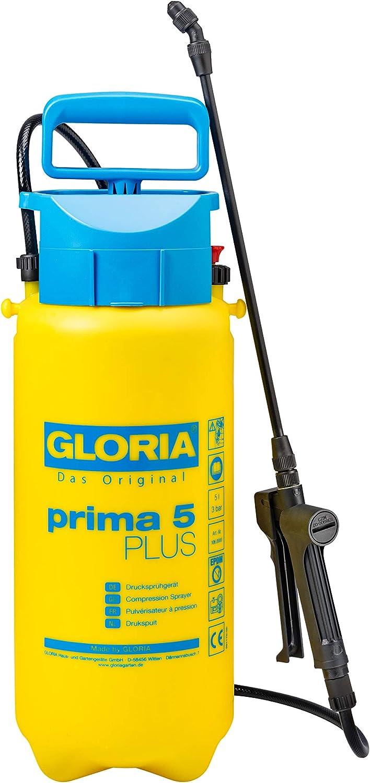 Gloria Prima 5 Plus Pulverizador de presión de 5 litros para la aplicación de pesticidas ácido acético, Amarillo, Azul
