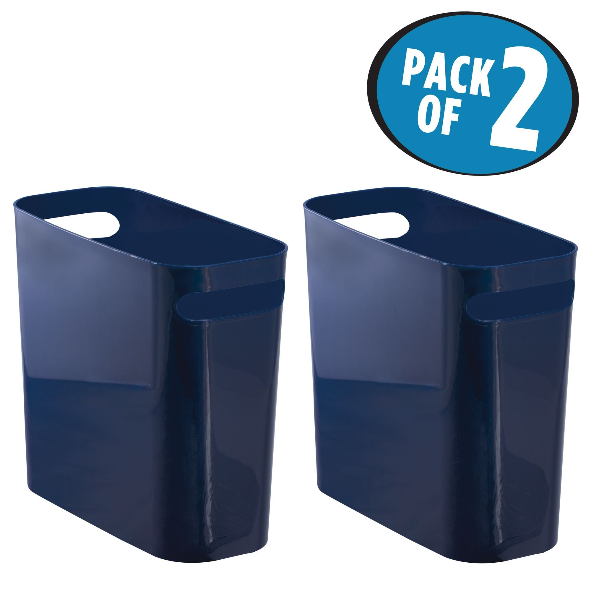 mDesign Slim Rectangular Trash Can Wastebasket, Garbage Container Bin with Handles for Bathrooms, Kitchens, Home Offices, Dorms, Kids Rooms — Pack of 2, 10 inch high, Shatter-Resistant Plastic, Navy B