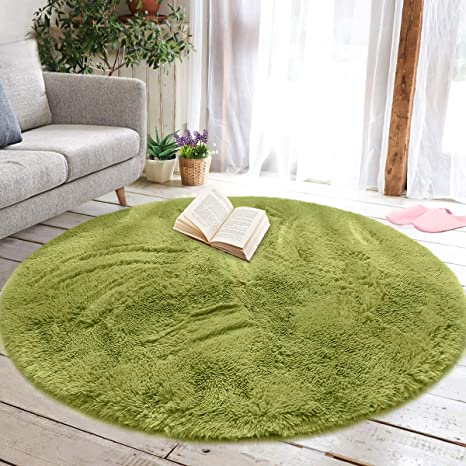 UK Large Round Shaggy Rugs Living Room Bedroom Carpet Thick Fluffy Playing Mat