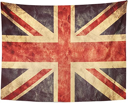 Emvency Tapestry The United Kingdom Union Jack Vintage Retro High Home Decor Wall Hanging for Living Room Bedroom Dorm 60x80 Inches