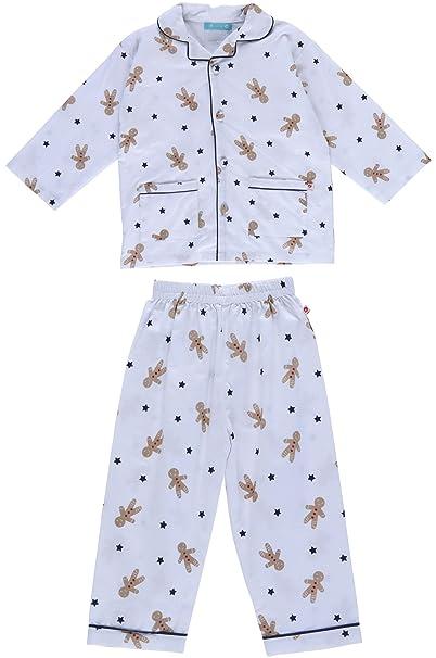 Piccalilly pijama de navidad algodón orgánico blanco y azul pan de jengibre