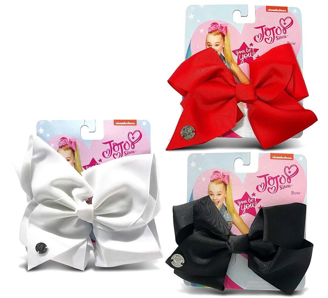 Warp Gadgets Bundle - Jojo Siwa 1 Black, 1 Red And 1 White Signature Basic Bow Hair Accessories (3 Items)
