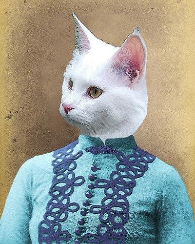 Amazoncom Victorian White Cat Lady Portrait Kitty Altered Anthro