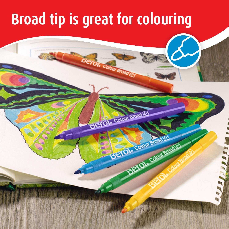 Assortiment de Couleurs Lot de 42 Berol Colour Broad Feutres de Coloriage Pointe Large 1,2 mm