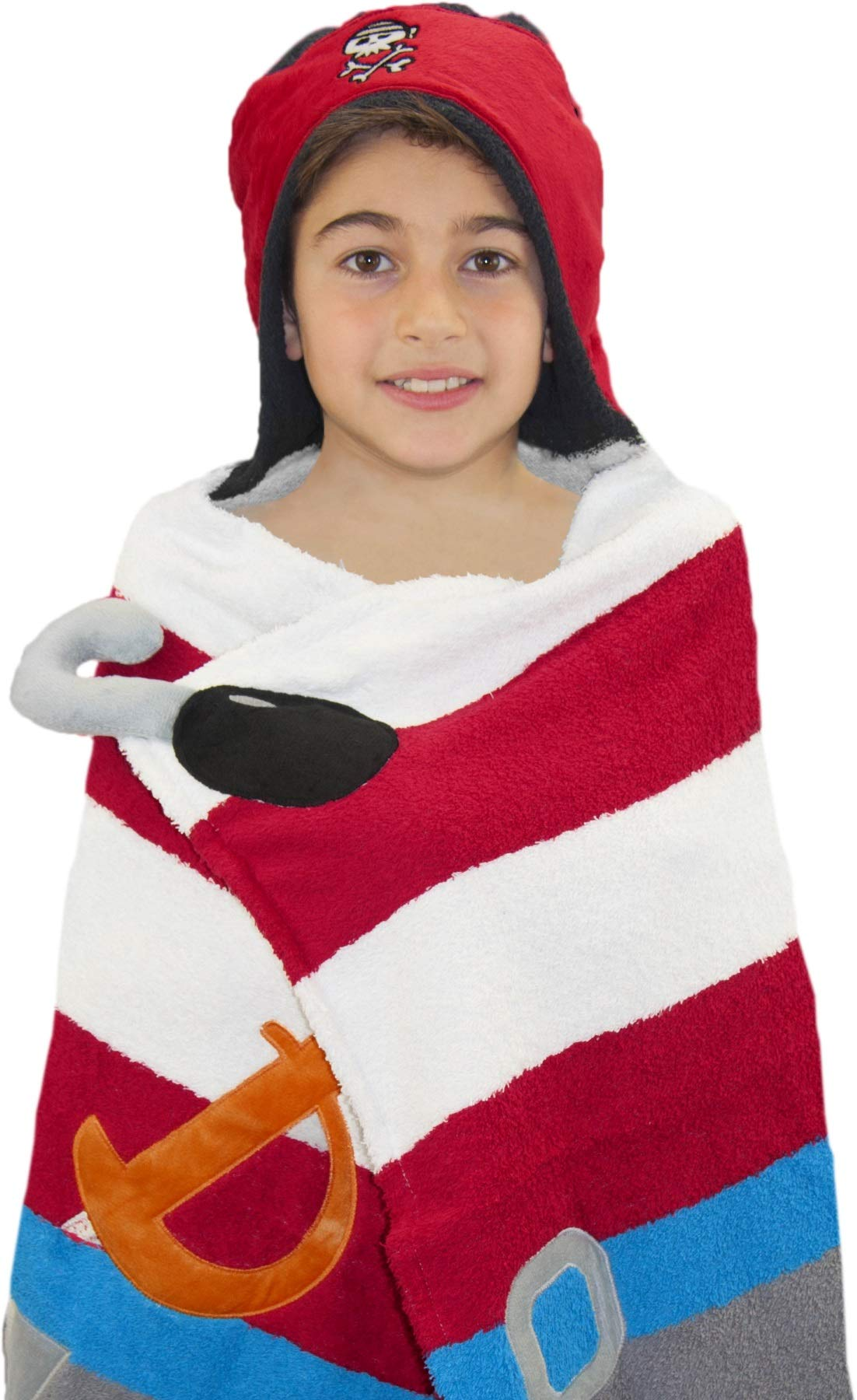Hooded Towel For Kids, Oversize Cotton Character Hood Towel - Makes Getting Dry Fun - Ideal Beach Towels for Toddlers and Small Children - Use at the Pool or Bath Time, 26 x 47'', Pirate