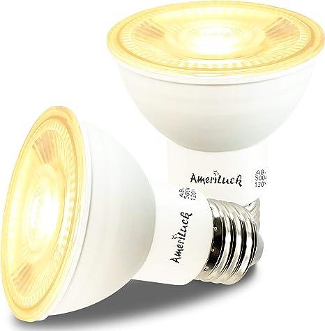 2 Pack Indoor//Outdoor Energy Star Certified 50W Equivalent 3000k Soft White UL Listed 500 Lumens 120V LED PAR20 Dimmable Flood Light Bulb 7 Watt