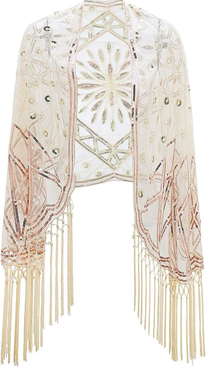 1920s Shawls, Scarves and Evening Jacket Tips Metme Womens 1920s Scarf Wraps Sequin Deco Fringed Wedding Cape Evening Shawl Vintage Prom $24.99 AT vintagedancer.com