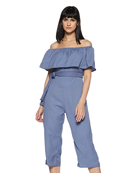 a89233531a1f Miss Chase Women s Blue Off-Shoulder Ruffled Midi Jumpsuit  Amazon ...