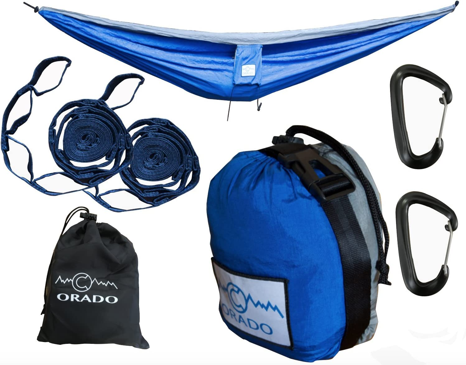 Best Double Camping Hammock, Complete Hammock System by Orado Outdoor Products, Includes Easy to Use Tree Straps, Aluminum Carabiners and Attached Bag – Portable, Ultralight