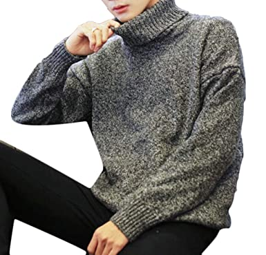 225905c7867 Domple Men s Autumn Lambswool Turtle Neck Long Sleeve Classic Knit Sweater  Black ...