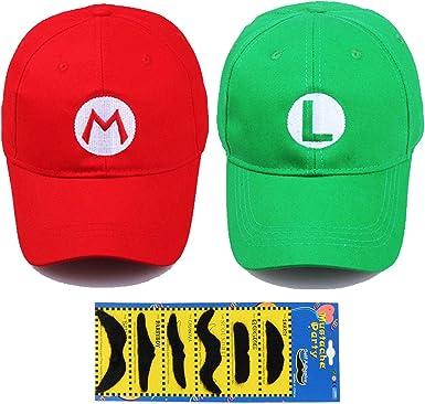 Costume Super Mario Bros Luigi Hat Anime Adult Unisex Cosplay Cap Red Green