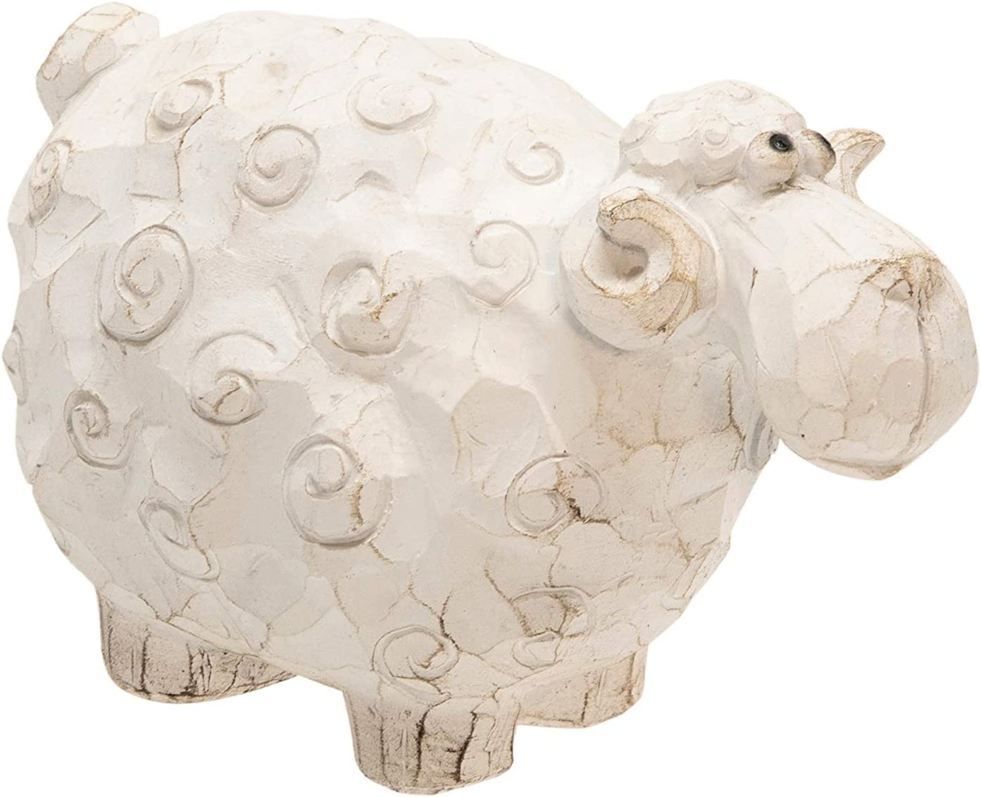 """Sagebrook Home 13585-01 Carved White Sheep 4.5"""", 6.75 x 3.75 x 4.5 inches"""