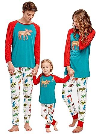 amazoncom family matching 2 pcs deer print christmas pajamas sets dad mom kid o neck long sleeve t shirtlong pants sleepwear clothing