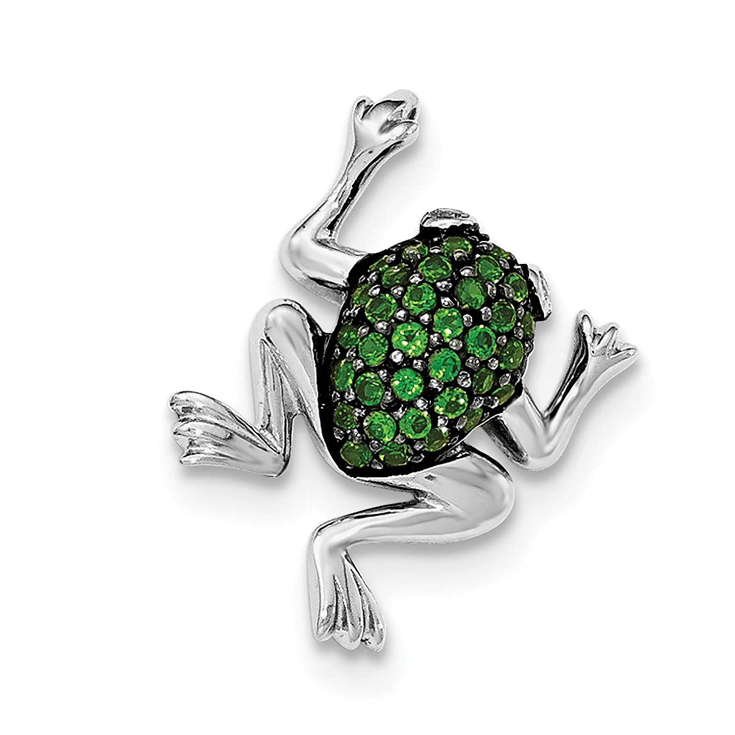 925 Sterling Silver Rhodium-plated White Topaz /& Chrome Diopside Frog Charm Pendant