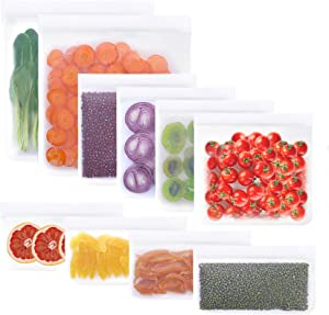 10 Pack Reusable Storage Bags 2 Reusable Gallon Bags+4 Leakproof Reusable Sandwich Bags+4 Thick Reusable Snack Bags Freezer Bags Leakproof Lunch Bags for Food Meat Fruit Cereal (White)