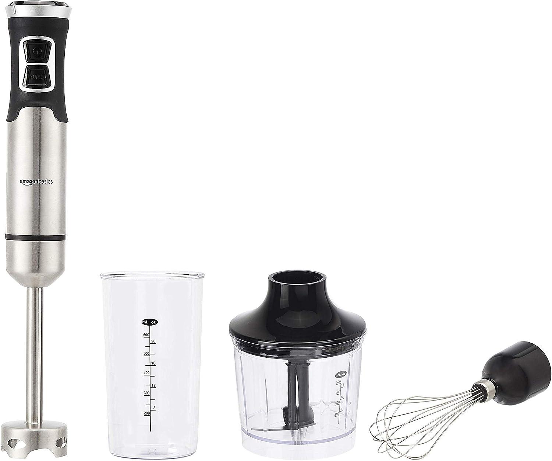 AmazonBasics 500 Watt Multi-Speed Immersion Hand Blender with Attachments (Renewed)
