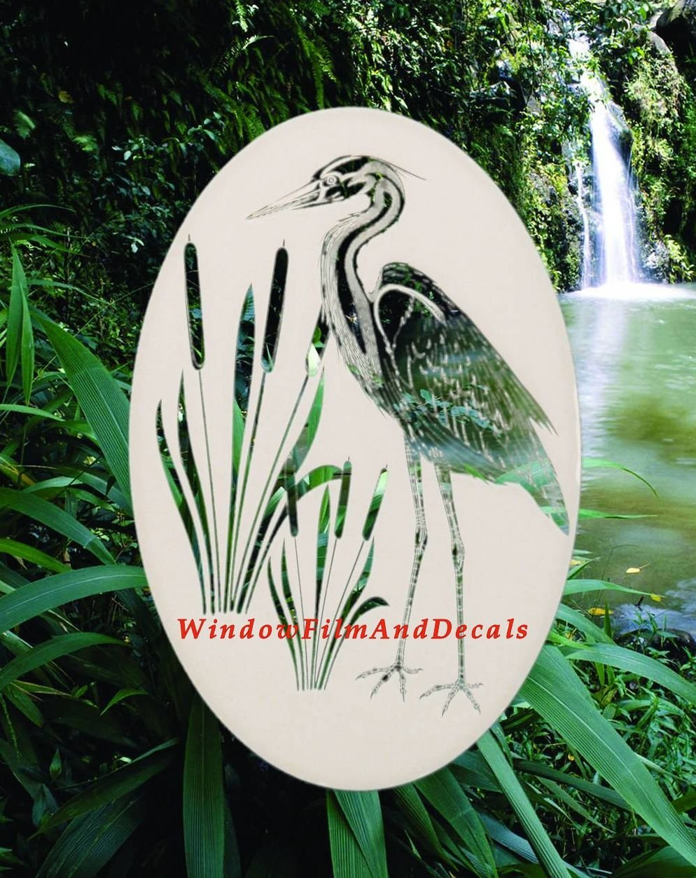 Oval Egret & Cattails Right Etched Window Decal Vinyl Glass Cling -21'' x 33'' - White with Clear Design Elements by Vinyl Etchings