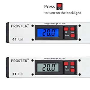 Proster Digital Angle Gauge 0-225° Digital Inclinometer Protractor Angle Finder with LCD Spirit Level 400mm/16 inch for Vertical Horizontal Dual Spirit Level (Color: Angle Gauge 0-225°)