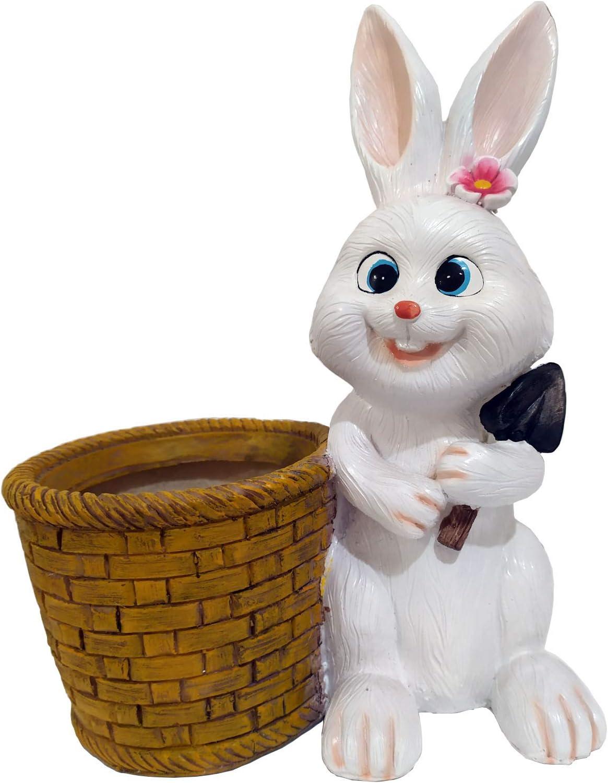 HOMERRY 12 in Large White Rabbit Figurine Flower Pot Miniature Fairy Garden