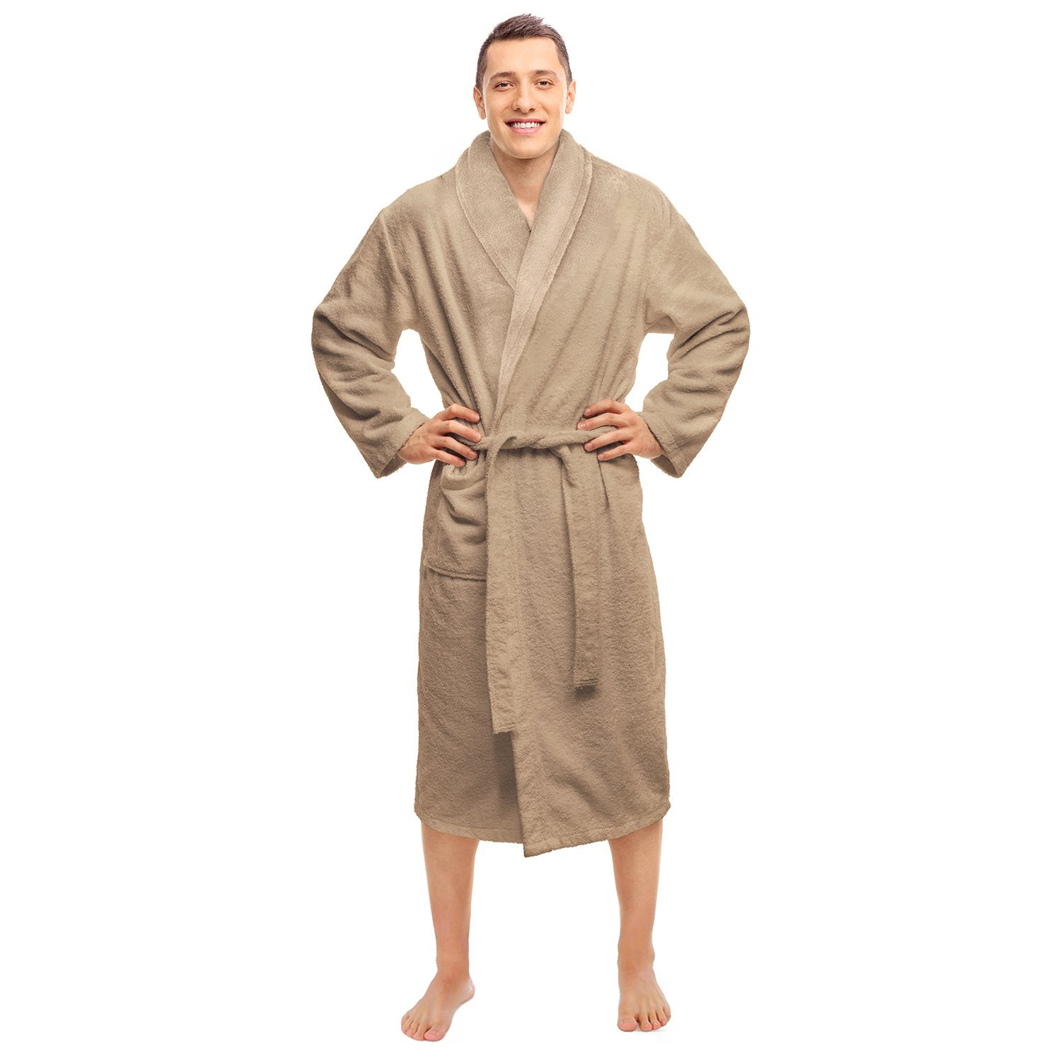 Blue Nile Mills Hotel & Spa Taupe Robe, Plush Terry Weave, 100% Premium Long-Staple Combed Cotton, Unisex Bathrobe for Women and Men, Small Size