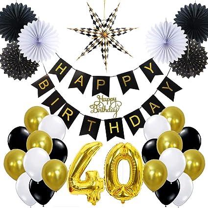 Easy Joy Decoration Anniversaire 40 Ans Noir Et Or Happy Birthday Ballon Doré Deco Anniversaire Adulte Kit Pour Femme Homme Cake Topper Happy